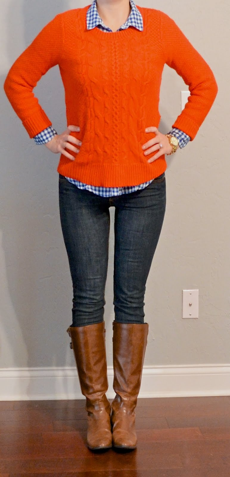outfit post: orange sweater, blue plaid shirt, skinny jeans ...